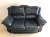 CAN DELIVER - BLUE LEATHER 2 SEATER SOFA IN VERY GOOD CONDITION