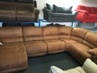 New / Ex Display Large Brown LazyBoy Recliner Group Sofa + Chaise (left or right side available)