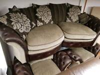3+1+1 sofa in Brown leather button back and fabric