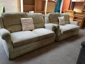Highbacked fabric twin two seater sofa set