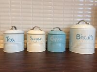 Set of Blue & Cream Storage Tins from Next