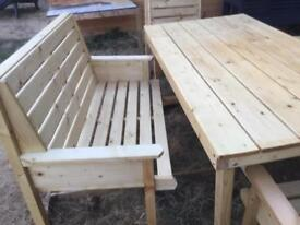 Garden table with two benches two chairs