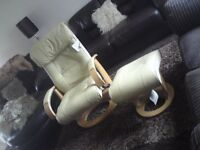 Quality Cream Leather Recliner chair with matching Foot Stool.. Oak solid wood finish