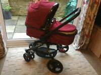 Mothercare orb pram/pushchair in red