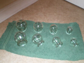 8 TRADITIONAL CHINESE GLASS CUPPING JARS ( 4 PAIRS )