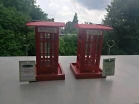 Pair of Genuine Oakdale Vintage Telephone Box Bird Feeders (NEW)