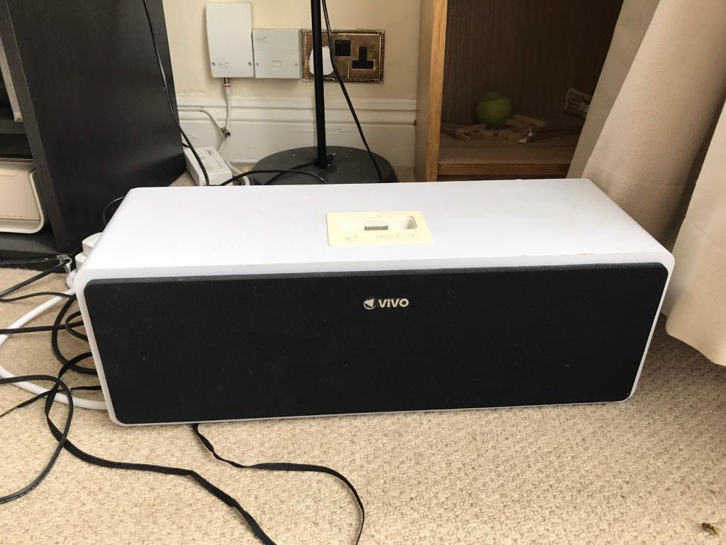 Vivo Speakerswith iphone 4 dock and AUXin Camden, LondonGumtree - Selling my Vivo speakers with iPhone 4 dock and connectivity via AUX. Aux cable can also be included in price. £15 ONO. Great speaker, good quality sound and high volume