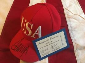 SIGNED TRUMP 45 USA HAT WITH INAUGURATION CEREMONY TICKET