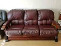 3 seater dark oak and burgundy sofa
