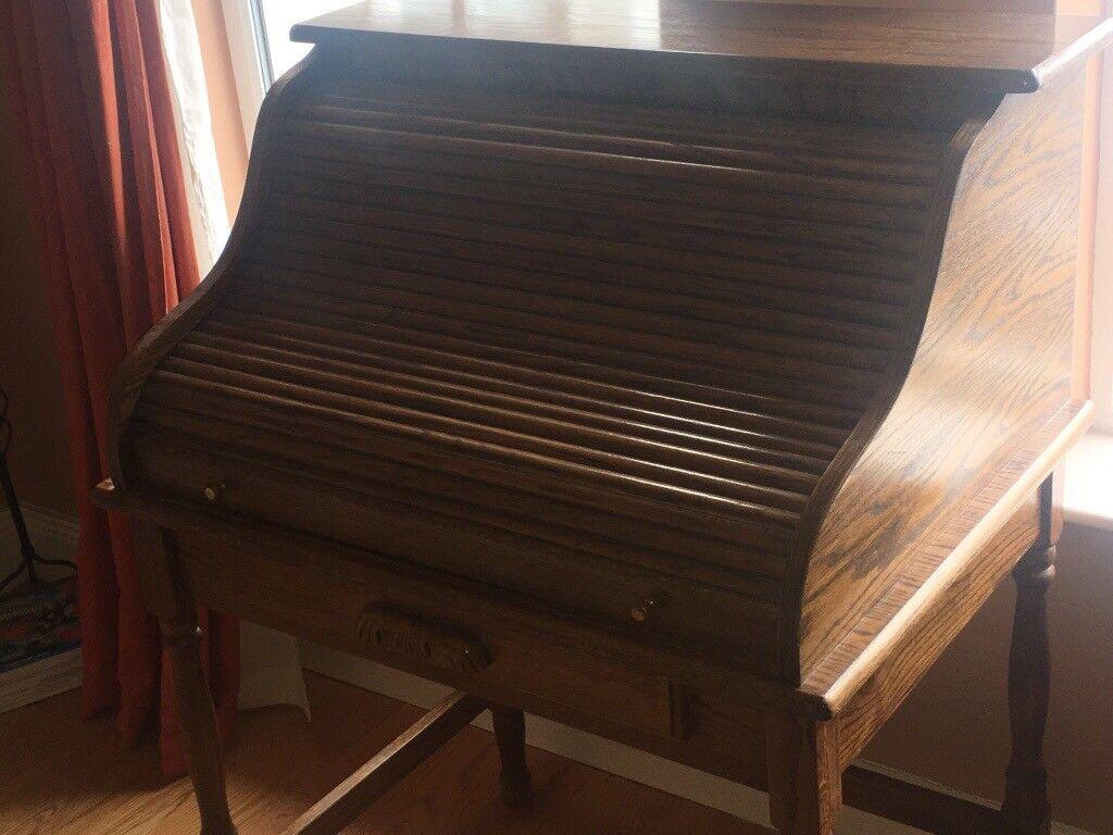 Oak Writing Bureau for sale with roller top