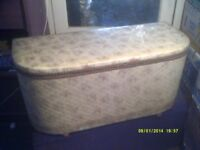 BLANKET or LINEN STORAGE BOX , 35 by 15 by 15 Inches . CREAM with Floral PATTERN .
