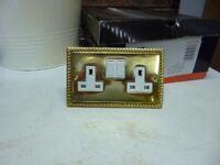 Georgian Brass Double Socket Outlets