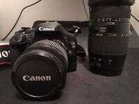 Canon EOS 550D 18.0 MP DSLR with 18-55mm lens and 70-300mm lens