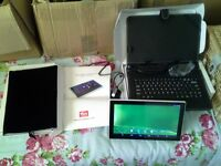 brand new 10 inch android tablet, keyboard and 32gb san disc micro card
