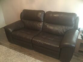 Leather sofa suite ...electric recliners