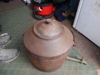 Antique 6 Gallon cast iron fire kettle