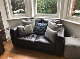Sofa Workshop dark brown leather two-seater sofa, good as new