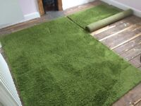 2 Green Ikea Hampen rugs