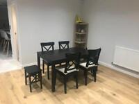 Dinning table, 4 chairs and 2 stools
