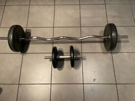 Heavy EZ Curl bar with dumbell. 4 x 5kg plates