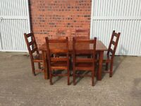Solid Hard wood dining table and 6 chairs with removable extension