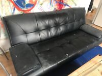 FREE black leatherette 2 seater sofa, used, pick up ASAP