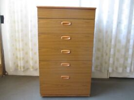 VINTAGE SCHREIBER TEAK EFFECT FIVE DRAWER CHEST OF DRAWERS WITH VANITY SECTION
