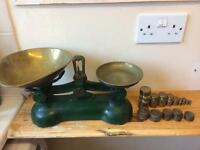 Vintage green Boots old fashioned weighing scales with weights