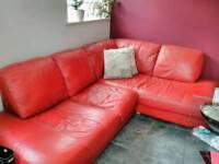 Red corner sofa large