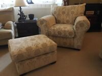 Quality Cream Floral Armchair & Matching Footstool