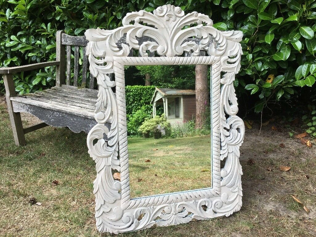 Hand Painted Ornate Shabby Chic Mirrorin Haslemere, Surrey - Hand Painted Ornate Shabby Chic Mirror Painted in Authentico Nautique then spayed with Rustoleum Ivory , satin finish and distressed for a shabby chic look . H 96 cm W 68 cm D 2 cm
