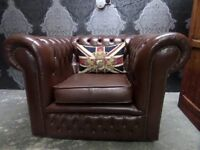 Stunning Vintage Chesterfield Club Chair Brown Leather Various Ones Available - UK Delivery