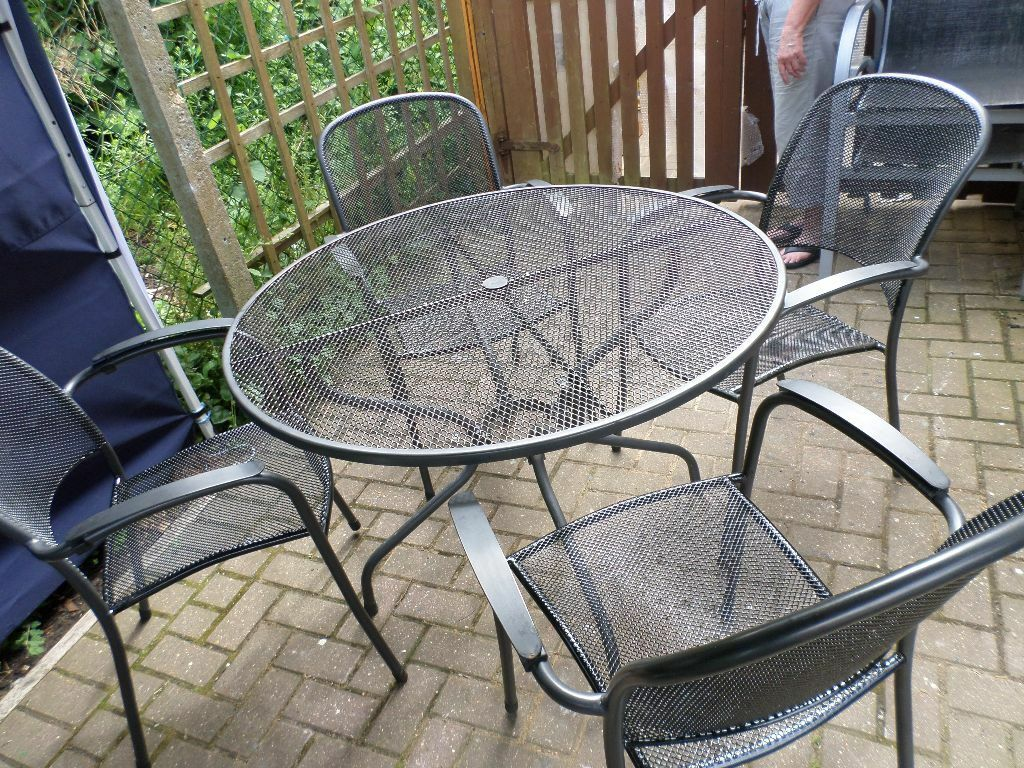 Round metal garden patio table and 4 chairs please note - Metal garden table and chairs ...