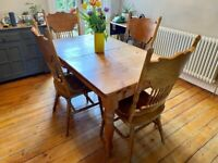 Pine Dining Table (extendable) and 4 Chairs