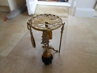 antique brass fire set