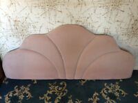 Vintage retro 1970s padded upholstered headboard for double bed, peach pink