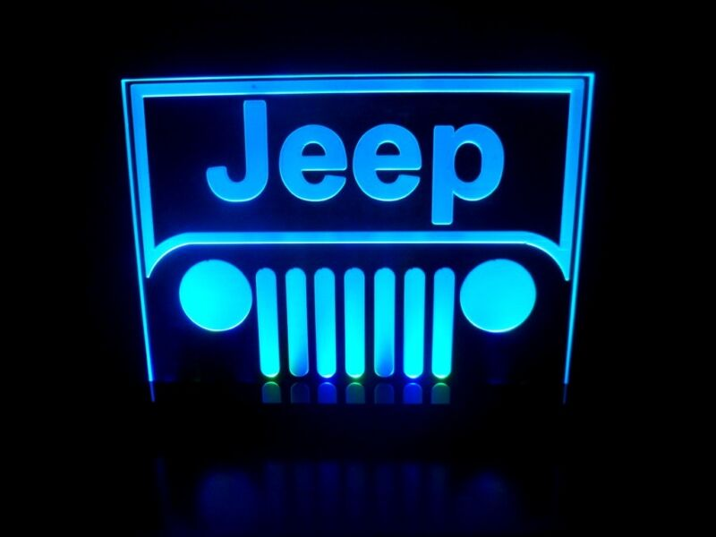 Jeep Wrangler Logo Table Lamp Car Auto LED Light Man cave Room Garage Neon Signs