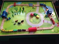Wooden Play table - with wooden train track, trains and extras