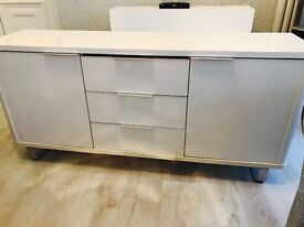 White gloss tv unit and sideboard