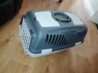 Pet Carrier :- suitable for cats, small dogs, rabbits, light weight plastic, Can be secured in car.