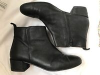 Black Leather Ankle Boots French Brand UK 3