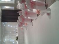 Great Wedding Chair Cover, Starlight Backdrop and Balloon Packages at Happy Daze Balloons and Events