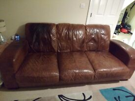 3 seat and 2 seat leather sofa