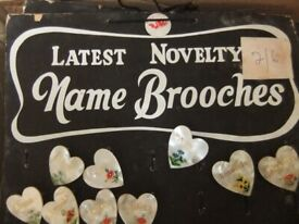 badge brooch love sweet heart names A to Z 1950s 60s stock