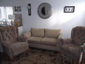Living Room Furniture- Two-seater Settee and two upright easy chairs, will seperately