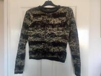 Gold and black warehouse jumper size 8 worn once very good condition