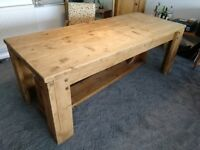 LARGE wood dining table and benches