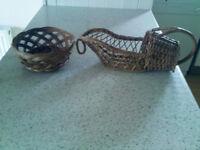 VINTAGE/Retro - Wicker Wine Bottle Pouring Basket and Bread Basket