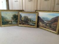 3 large framed paintings