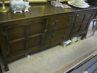 VINTAGE LONG ORNATE 'OLD CHARM' OAK SIDEBOARD. ATTRACTIVE. VIEWING/DELIVERY AVAILABLE